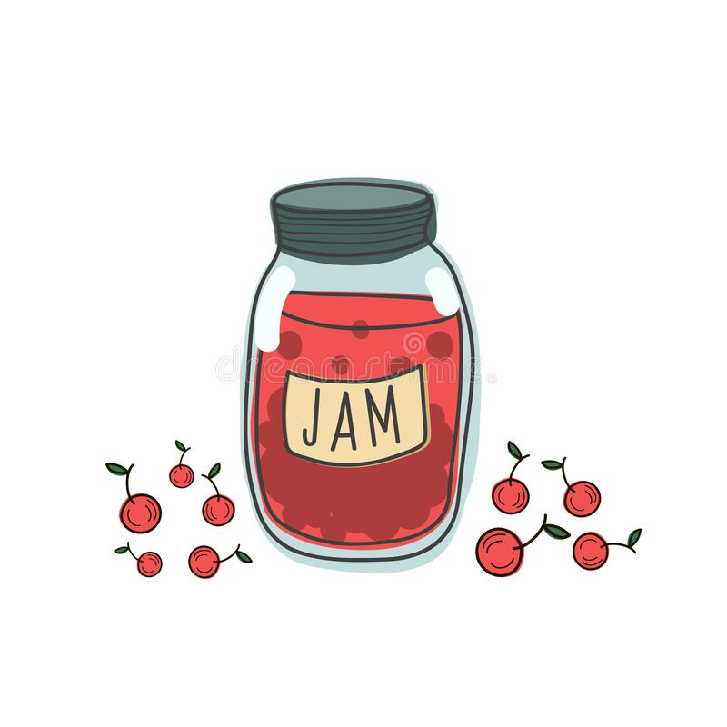 Vector pattern of jam jars with cherries. Illustration of sweet food in the style of doodle. Handdrawn art royalty free illustration