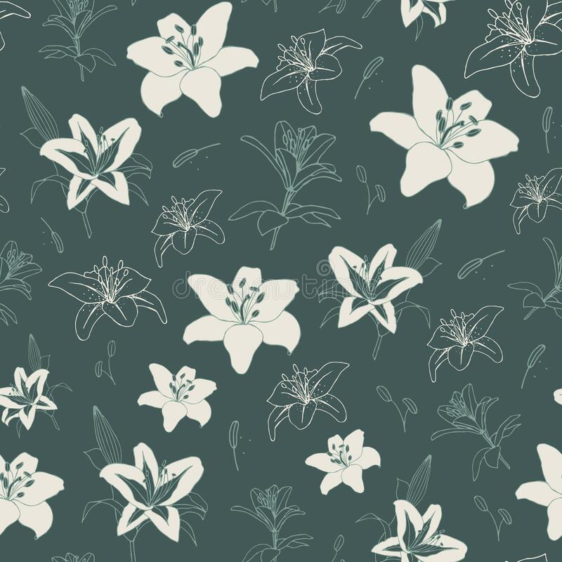 Vector pattern with lilies. Dark green background royalty free stock images