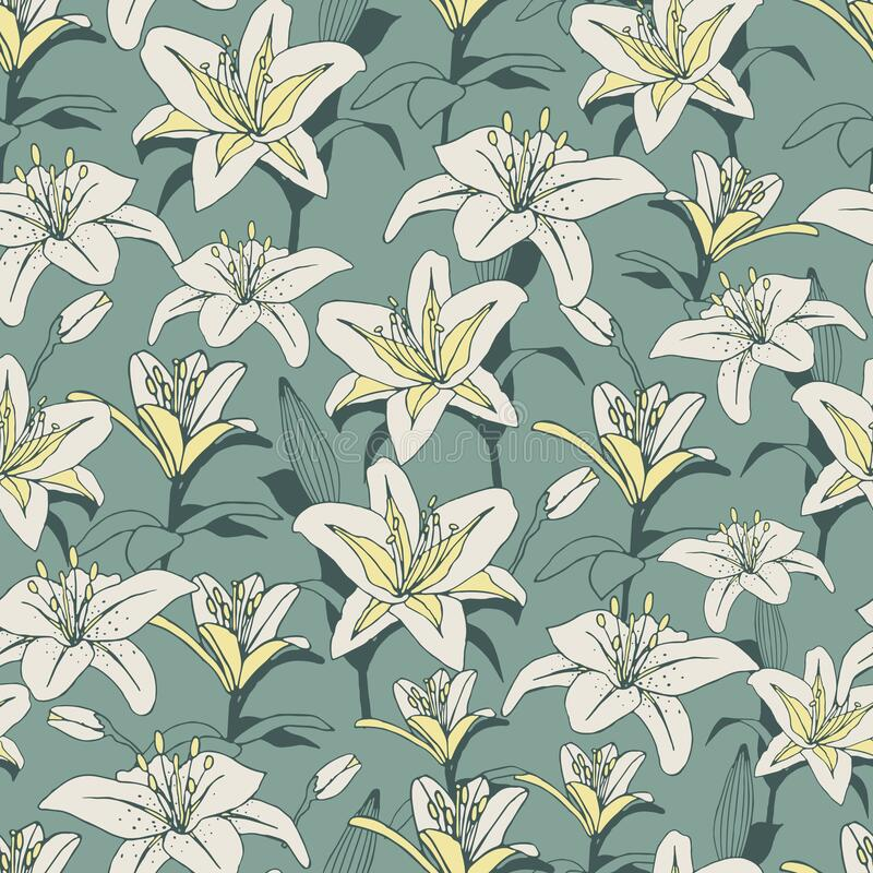 Vector pattern with lilies. Light green background royalty free stock image
