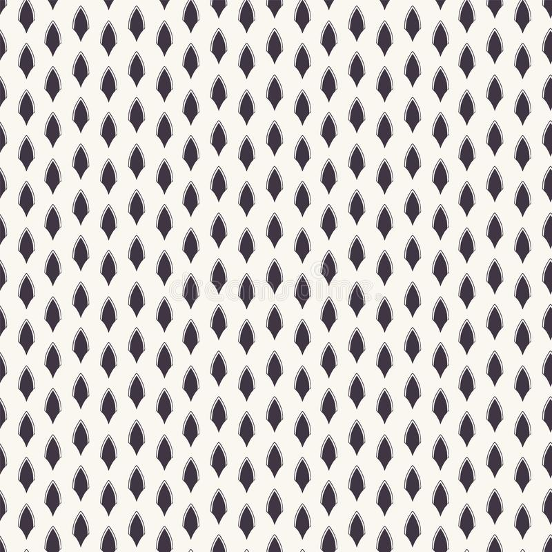 Vector pattern. Linocut striped diamond shapes. Repeating geometrical tile background. Monochrome surface design textile swatch. royalty free illustration