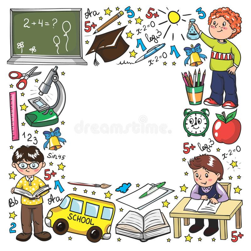 Vector pattern with little children. Back to school. Geography, geometry, mathematics, physics, chemistry, astronomy royalty free illustration