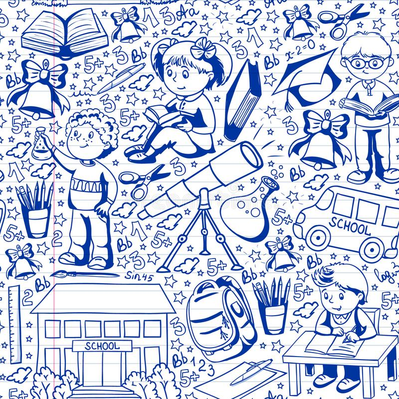 Vector pattern with little children. Back to school. Geography, geometry, mathematics, physics, chemistry, astronomy vector illustration