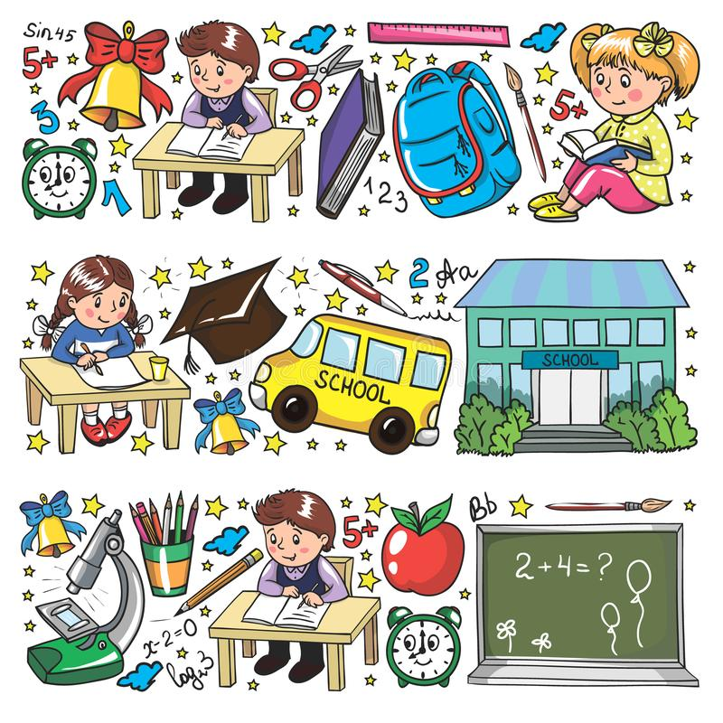 Vector pattern with little children. Back to school. Geography, geometry, mathematics, physics, chemistry, astronomy stock illustration