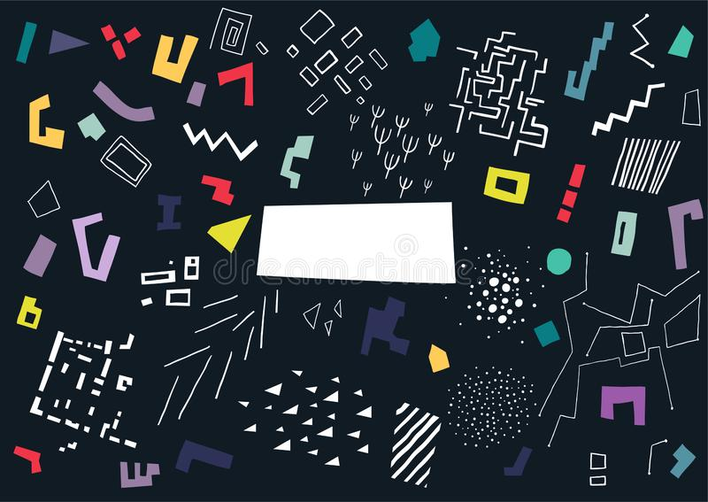 Vector pattern made of colorful shapes and white structures on black background stock illustration