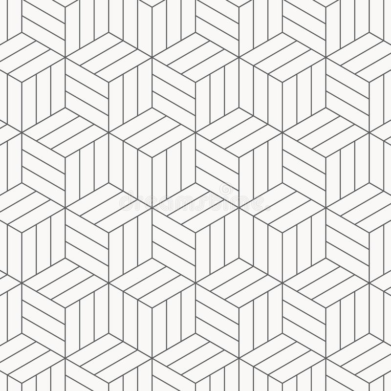 Vector pattern. Modern stylish texture. Repeating geometric tiles. Striped monochrome cubes. royalty free illustration