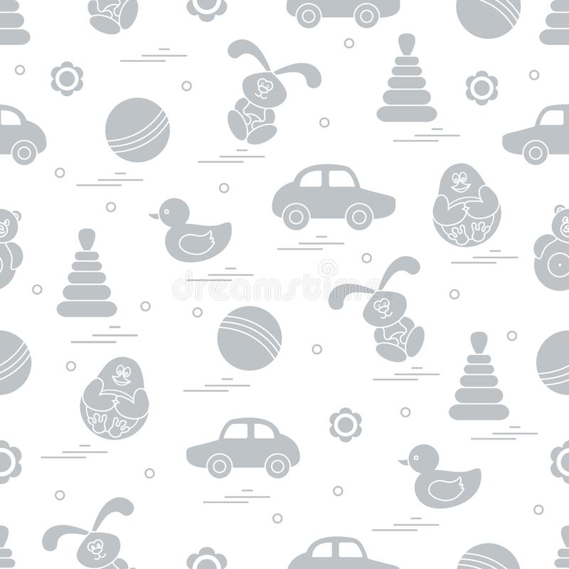 Free Vector Pattern Of Different Toys: Car, Pyramid, Roly-poly, Ball, Hare, Rattle, Duck, Penguin. Stock Image - 126458841