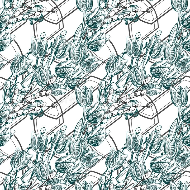Vector pattern plant engrave ink tulips geometry willow stock illustration