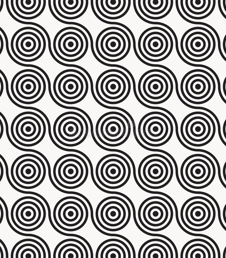 Vector pattern, repeating circles in wavy line, modern stylish monochrome. stock illustration