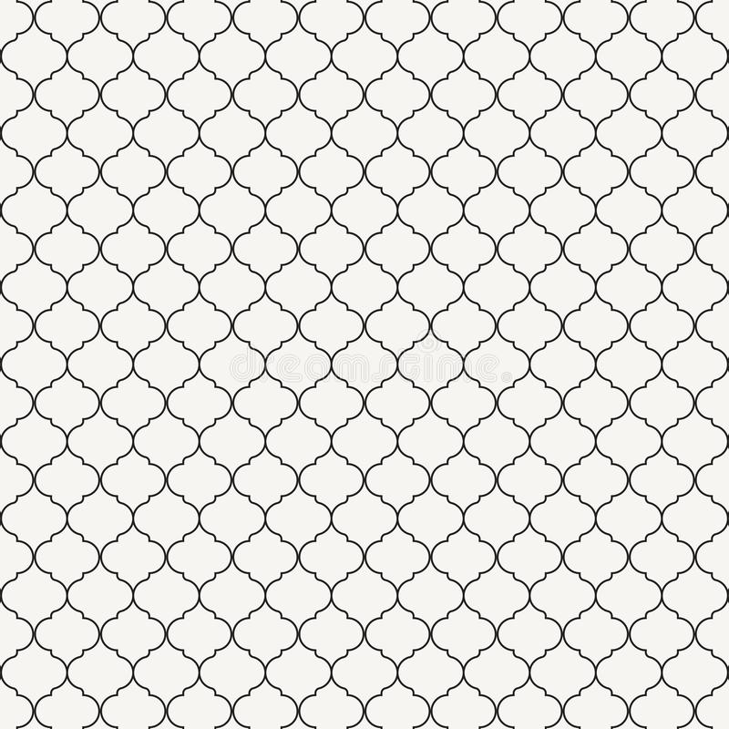 Vector pattern repeating ogee ornament. Oriental traditional ornamentation with repeated tile shapes. Window tracery wallpaper. Gr vector illustration