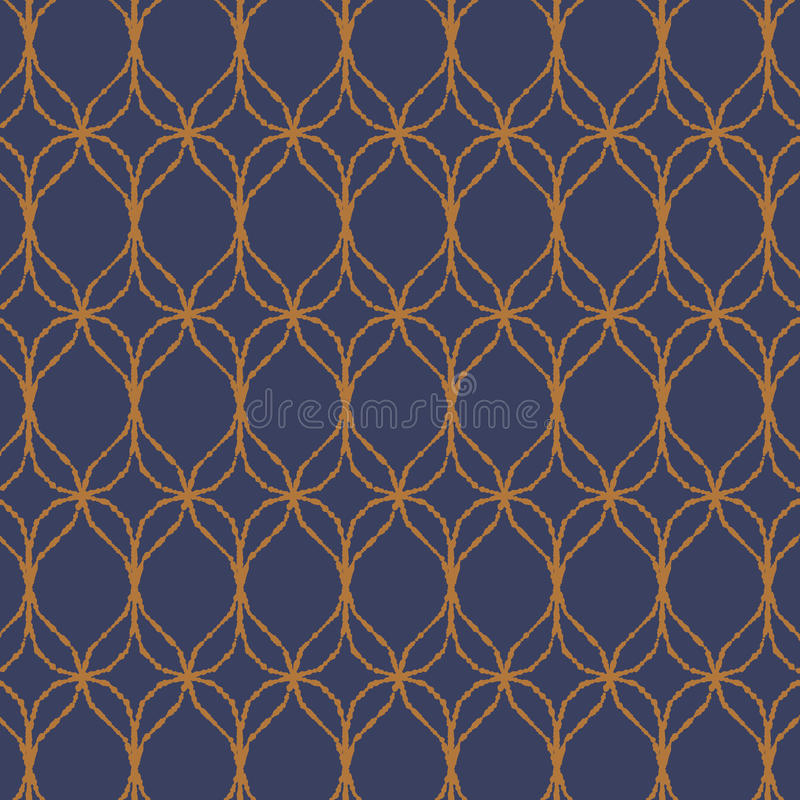 Vector pattern, repeating texture of wavy line with abstract flower, stylish retro pattern background. royalty free illustration