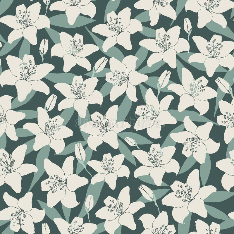 Vector pattern with romantic lilies and leaves stock images