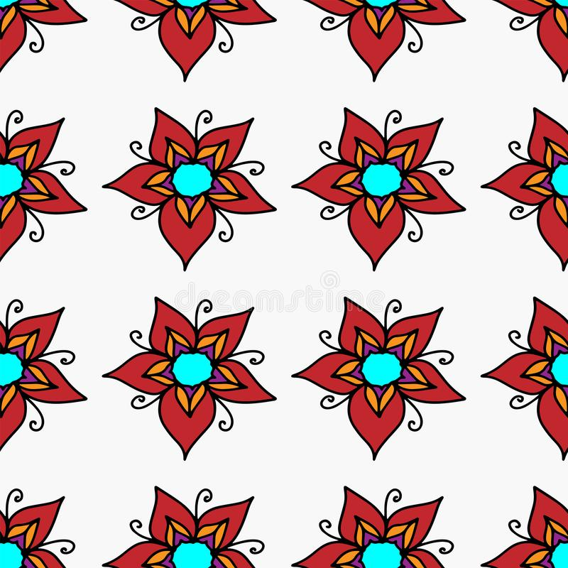 Vector pattern seamless red flowers on a white background royalty free illustration