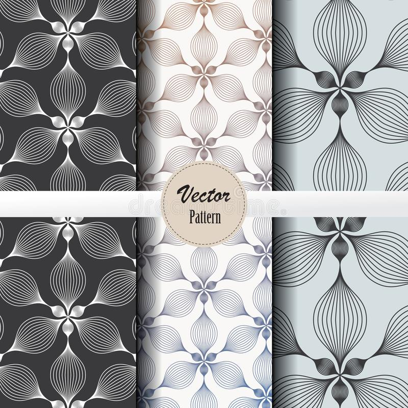 Vector pattern set of abstract linear flower circling on hexagon shape in sizes and colors. Vector clean design for wallpaper, printing, fabric, easily edited vector illustration