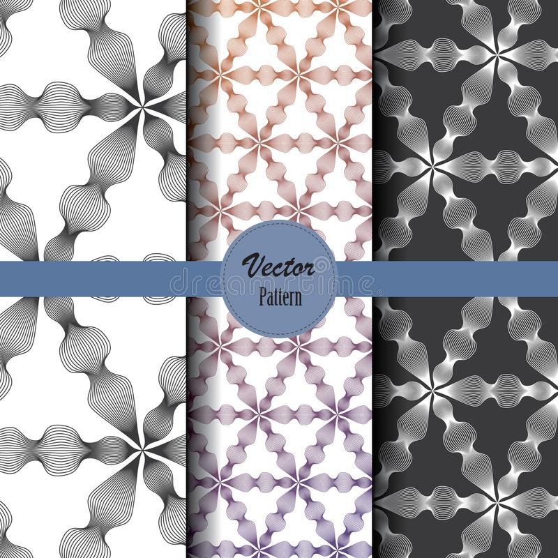 Vector pattern set of abstract linear flower circling on hexagon shape in sizes and colors. Vector clean design for wallpaper, printing, fabric, easily edited stock illustration
