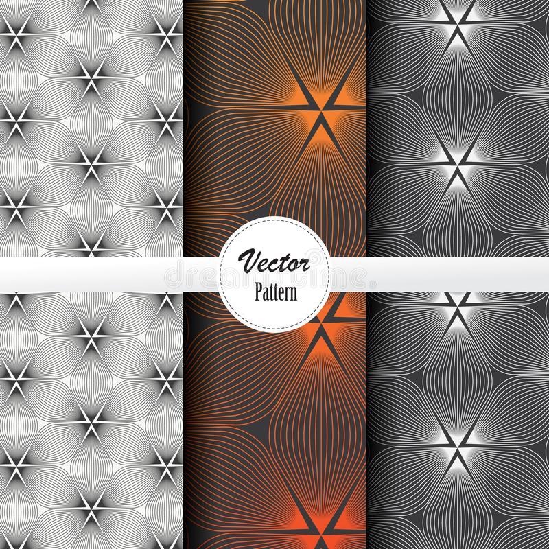 Vector pattern set of abstract linear flower circling on hexagon shape in sizes and colors. Vector clean design for wallpaper, printing, fabric, easily edited royalty free illustration