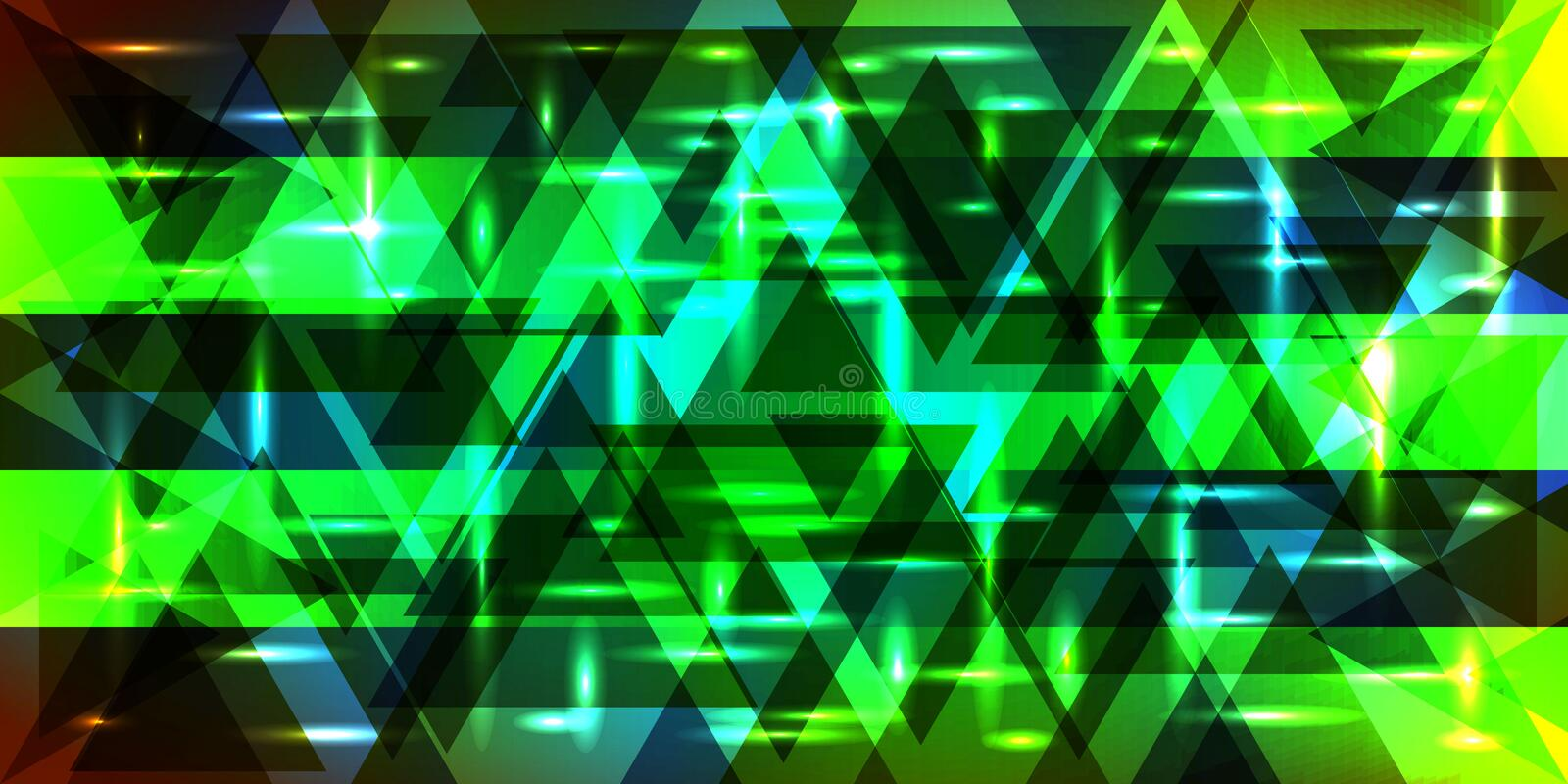 Vector pattern of shimmering triangles and stripes in green colo. Rs. For decoration of holidays and decorative interior stock illustration