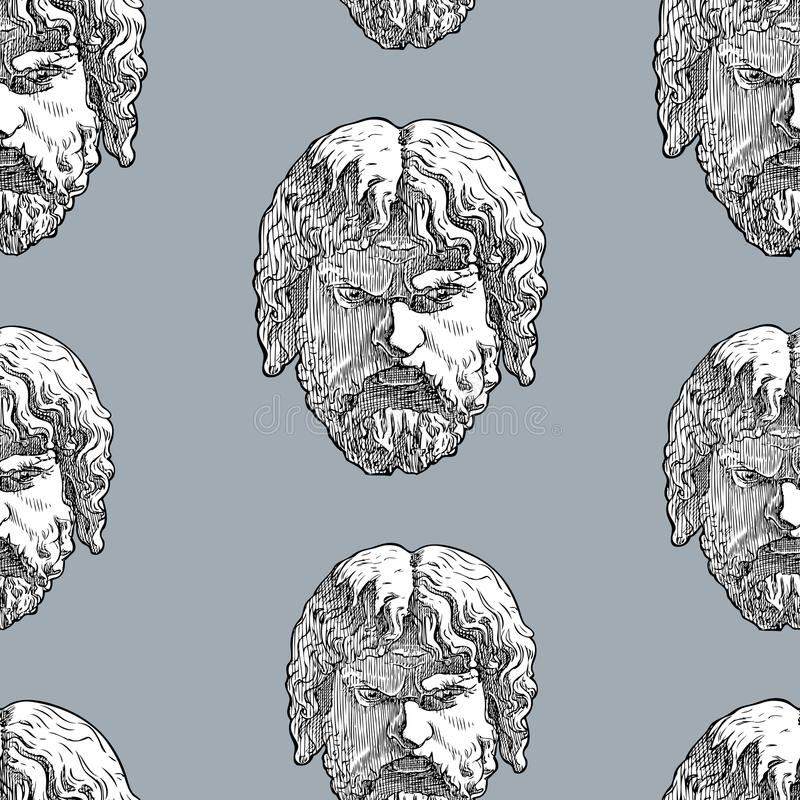 Seamless background of the classical male masks royalty free illustration