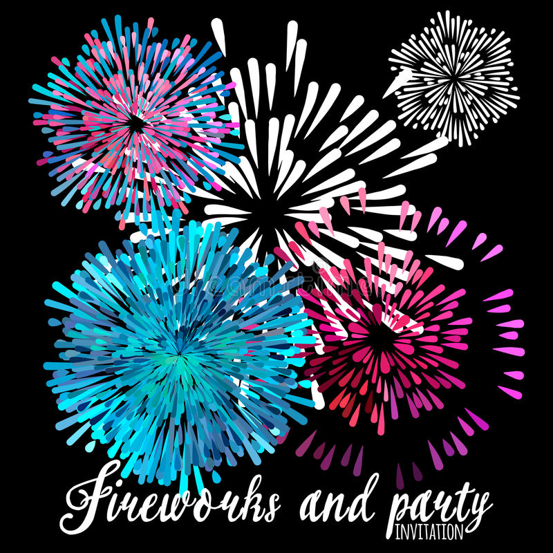 Vector pattern with stylized fireworks and party invitation. Purple and blue spray fire on a black background vector illustration