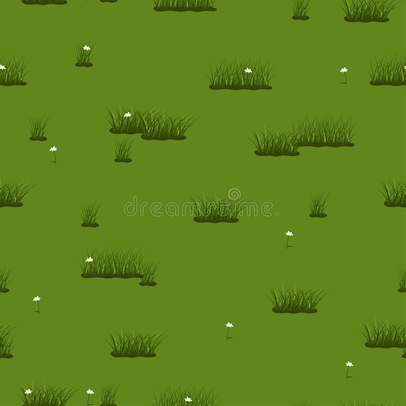 Summer seamless texture of green grass and flowers. Vector pattern vector illustration