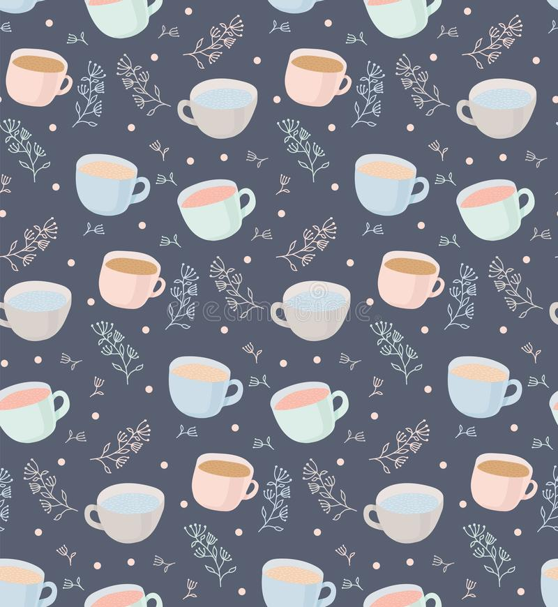 Vector pattern of tea and coffee mugs with plant elements. Illustration on gray background stock illustration