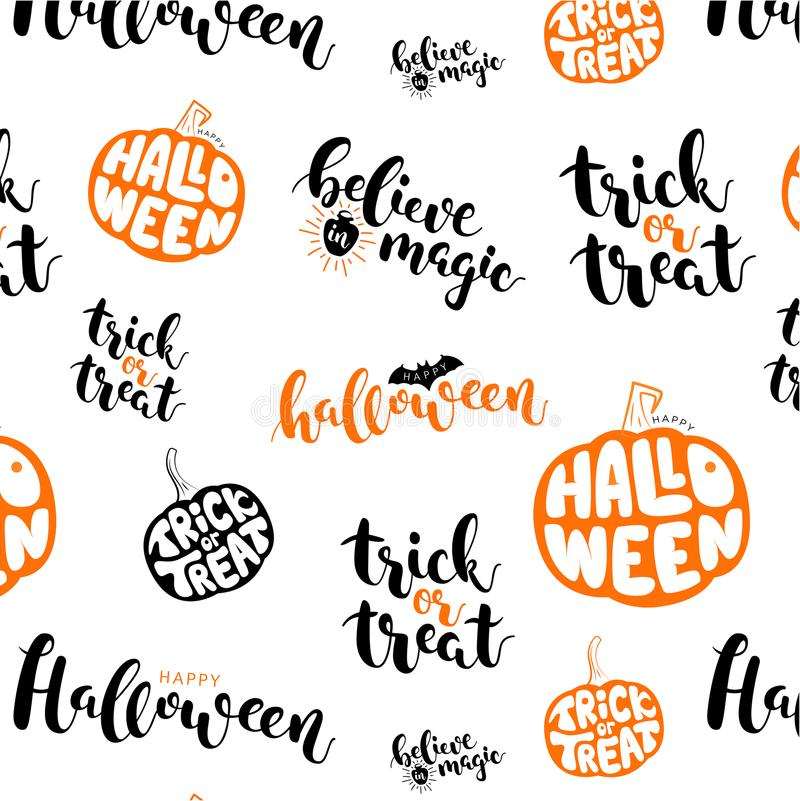 Vector pattern with text and pumpkins. Halloween royalty free illustration
