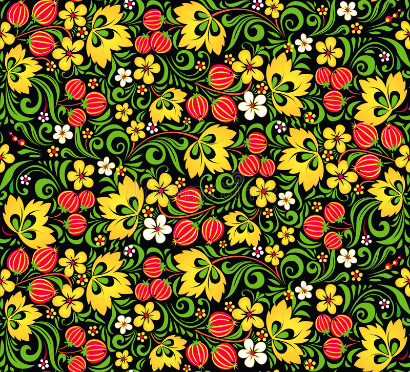 Free Vector Pattern Traditional Russian Style Hohloma Stock Photos - 30688163