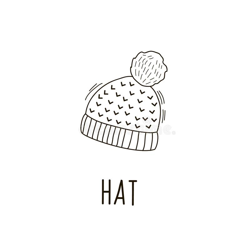 Vector pattern of warm autumn cap in the style of doodle. Linear illustrations by hand. Knitted hat vector illustration