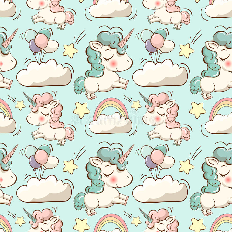Free Vector Pattern With Unicorn, Clouds And Rainbow Royalty Free Stock Image - 65598406