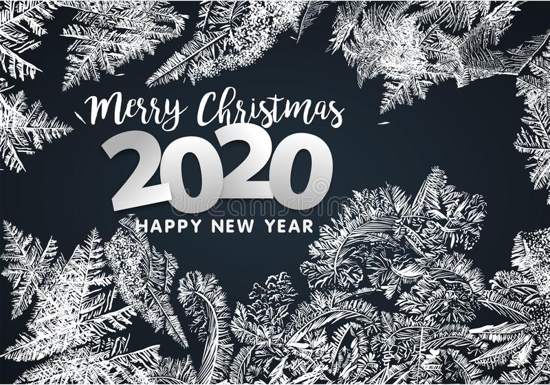 2020 Vector Patterns Made by the Frost. Blue Winter Background for Christmas Designs. Xmas Typographic Label for Holiday Greeting royalty free stock photography