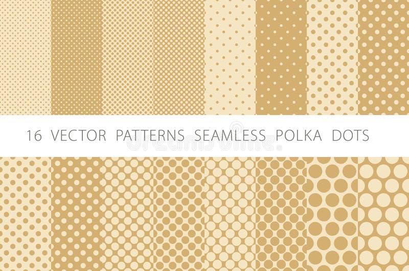 16 VECTOR PATTERNS SEAMLESS POLKA DOTS set beige background. Art vector illustration