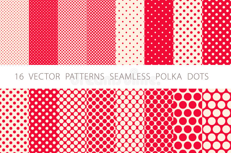16 VECTOR PATTERNS SEAMLESS POLKA DOTS set red background. ART vector illustration