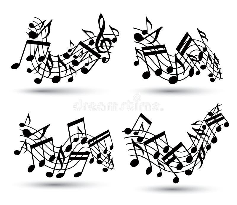 Vector pautas musicais onduladas alegres pretas com notas musicais no backg branco ilustração stock