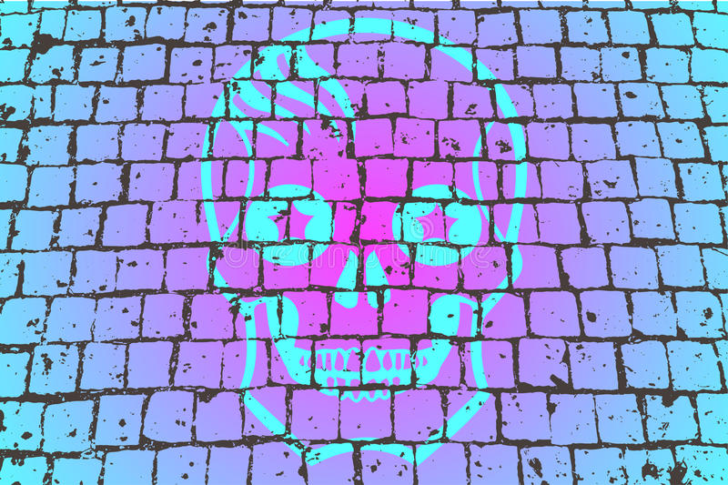 Vector paving stone. With a skull print royalty free illustration