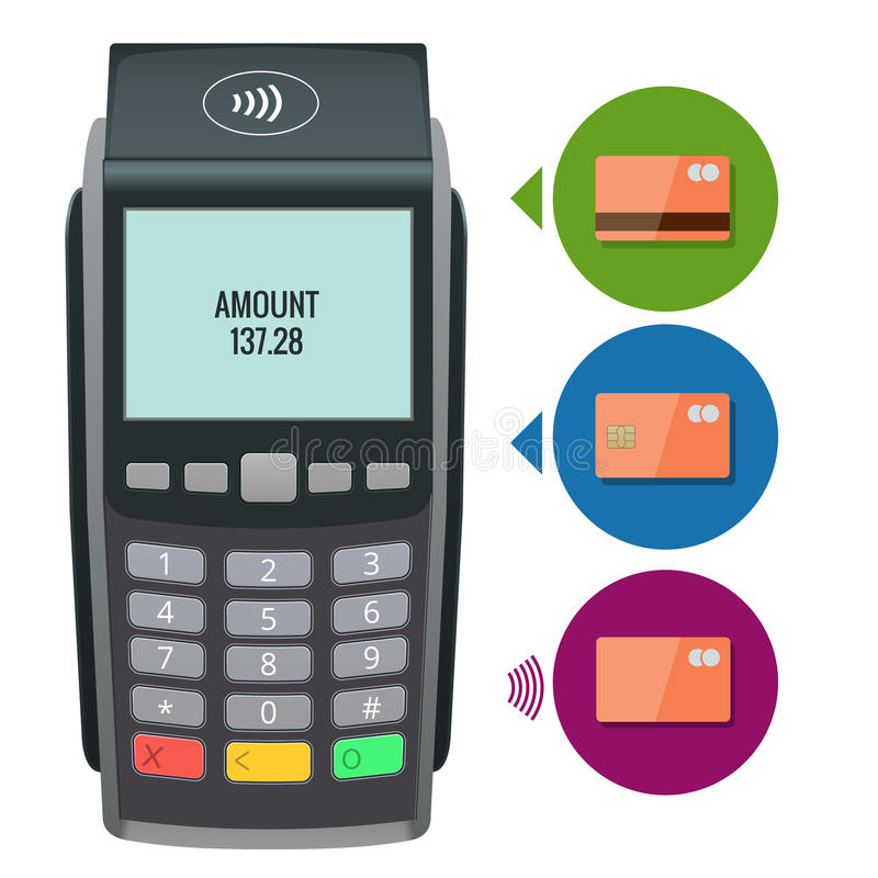 Vector payment machine and credit card. POS terminal confirms the payment by debit credit card, invoce. Vector. Illustration in flat design. NFC payments royalty free illustration
