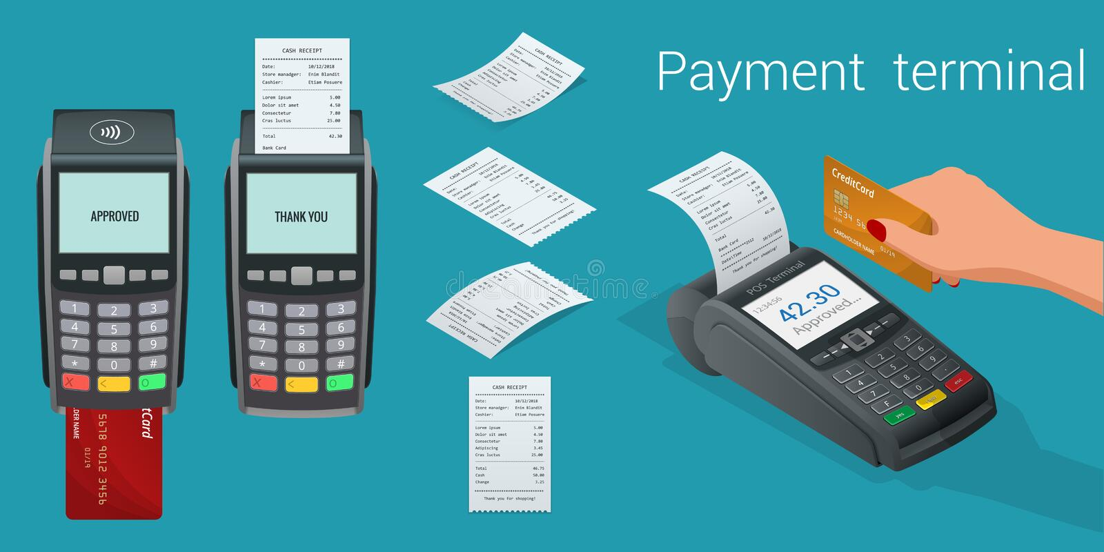 Vector payment machine and credit card. POS terminal confirms the payment by debit credit card, invoce. Vector vector illustration