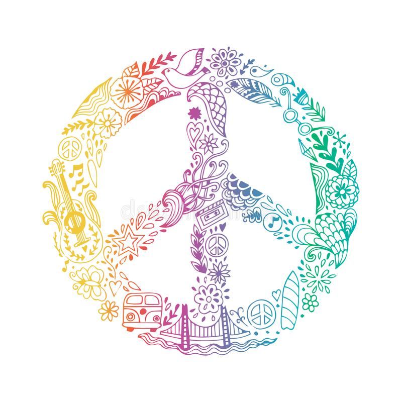 Free Vector Peace Symbol Made Of Hippie Theme Doodle Handdrawn Icons, Pacifism Sign. Hippie Style Ornamental Background. Love Stock Photography - 101884182