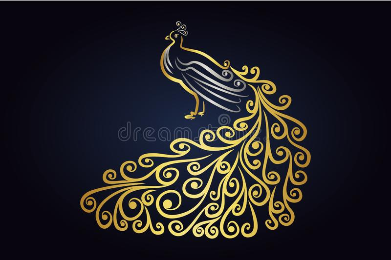 Vector Peafowl bird with feathers in silver and gold colors. Peacock isolated on dark background. Vector Peafowl bird with feathers in silver and gold colors stock illustration