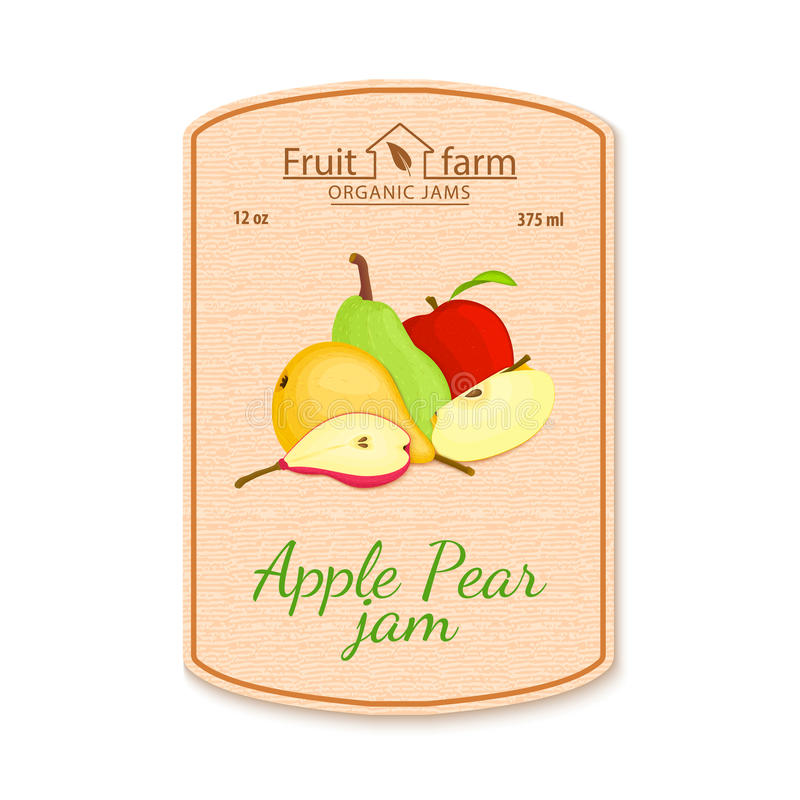 Vector pear jam lable. Composition of ripe pears fruits. stock illustration
