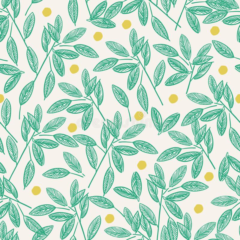 Free Vector Pen And Ink Drawing Leaf And Dots Illustration Motif Seamless Repeat Pattern Green And Ivory Background Color Stock Photography - 218633502
