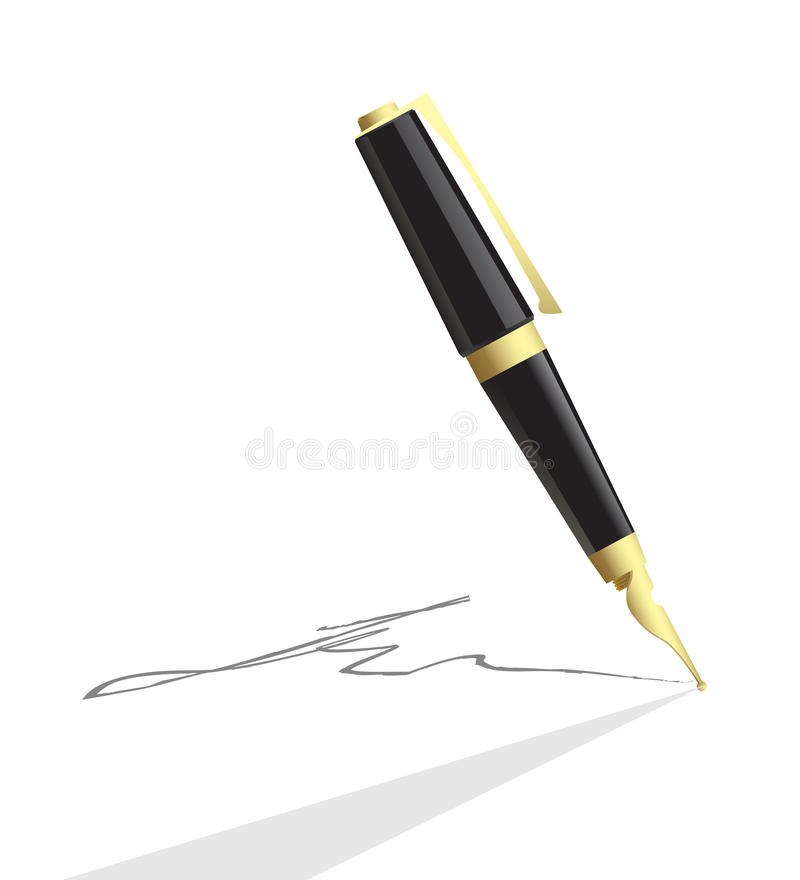 Vector pen making signature royalty free illustration