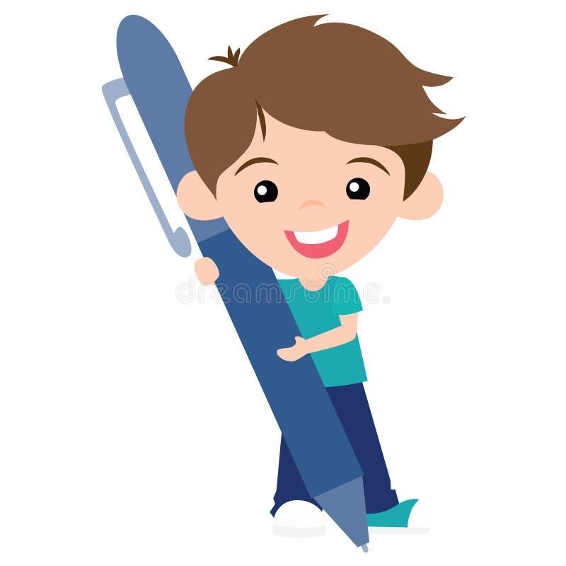 Vector Pen Pal Boy lindo con Pen Illustration libre illustration