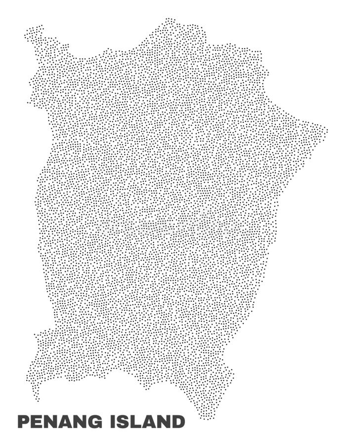 Vector Penang Island Map of Points. Penang Island map designed with little points. Vector abstraction in black color is isolated on a white background. Scattered vector illustration