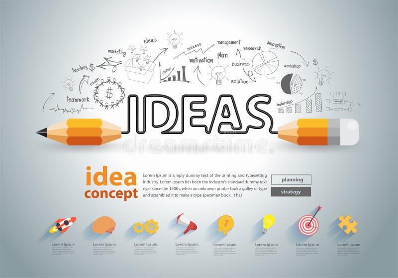 Vector pencil ideas concept doodles icons set. Pencil ideas concept doodles icons set. Vector illustration royalty free illustration