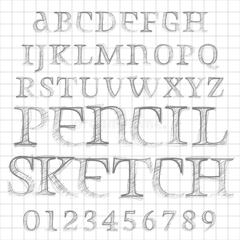 Vector pencil sketched font stock illustration