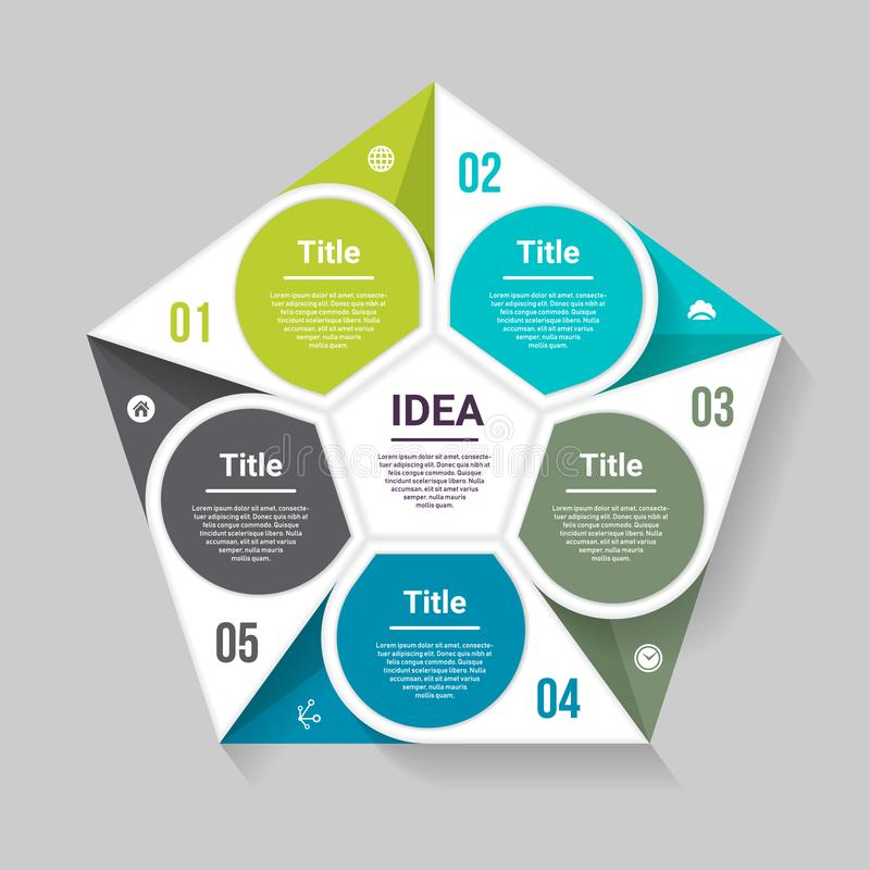 Vector pentagon infographic. Template for diagram, graph, presentation and chart. Business concept with five options, parts, steps. Or processes. Abstract vector illustration