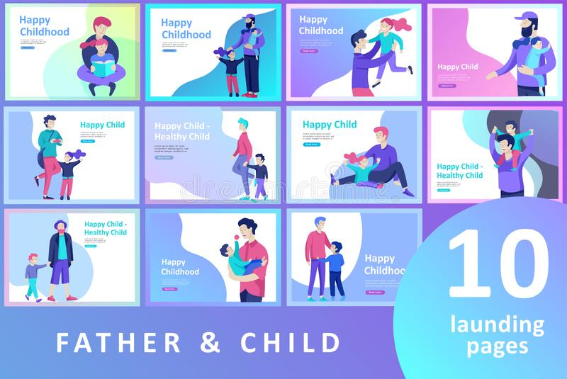 Vector people character. Father and him child spending time together, happy male parent. Colorful flat concept royalty free illustration