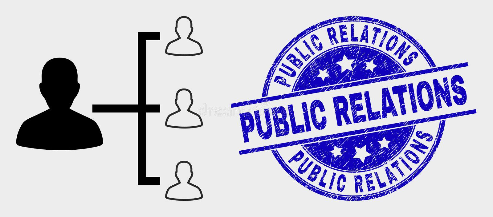 Vector People Hierarchy Icon and Grunge Public Relations Stamp royalty free illustration