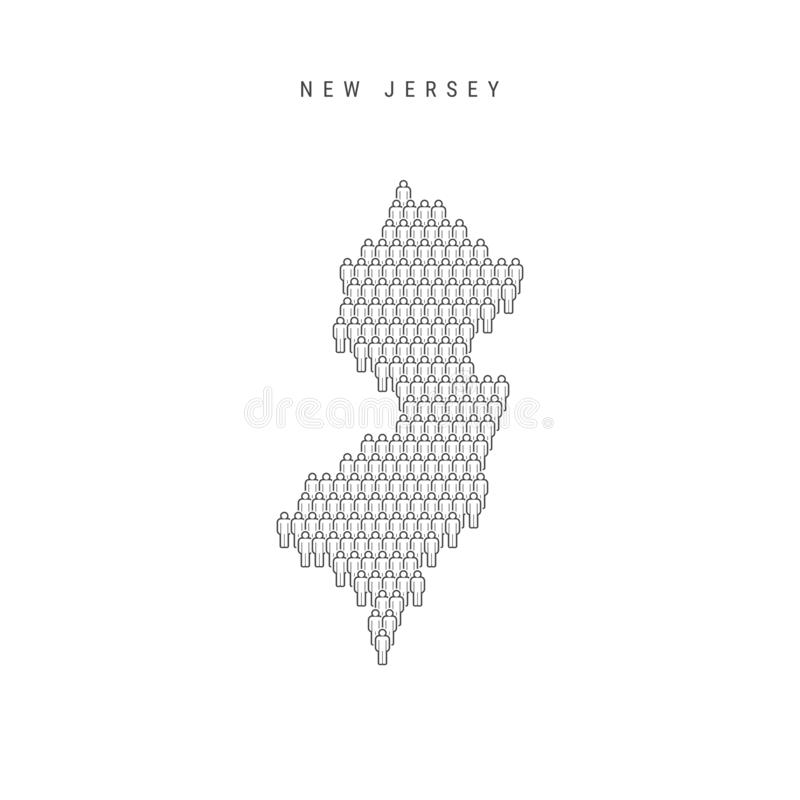 Vector People Map of New Jersey, US State. Stylized Silhouette, People Crowd. New Jersey Population vector illustration