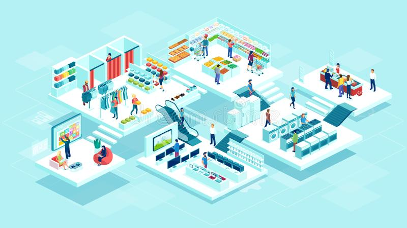 Vector of people men and women shopping at the supermarket and buying products. Isometric vector of people men and women shopping at the supermarket and buying stock illustration