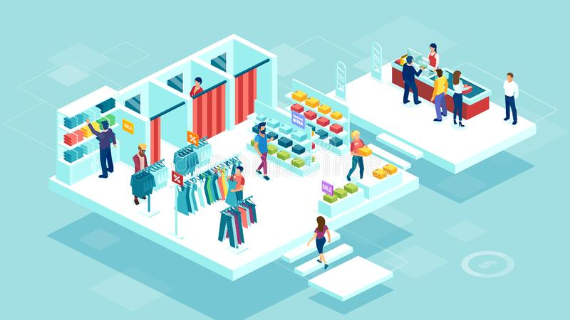 Vector of people men and women shopping together at the shopping mall buying clothing. Isometric vector of people men and women shopping together at the shopping royalty free illustration
